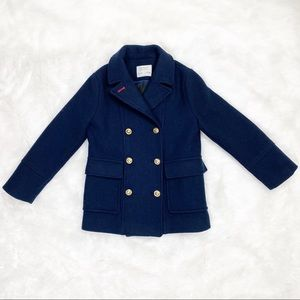 Zara Girls Navy Wool Peacoat with Gold Buttons